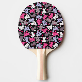 pattern with cute kawaii doodle cats 3 ping pong paddle
