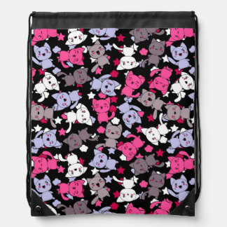 pattern with cute kawaii doodle cats 3 backpack