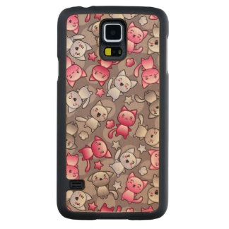 pattern with cute kawaii doodle cats carved maple galaxy s5 case