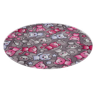 pattern with cute kawaii doodle cats cutting board