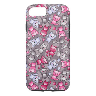 pattern with cute kawaii doodle cats iPhone 7 case