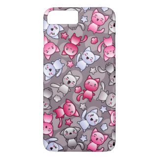 pattern with cute kawaii doodle cats iPhone 8 plus/7 plus case
