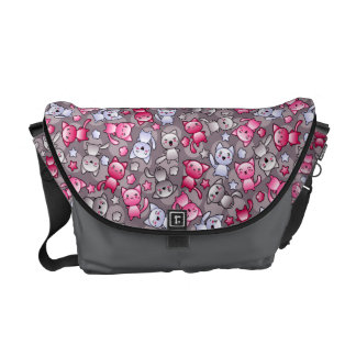 pattern with cute kawaii doodle cats courier bags