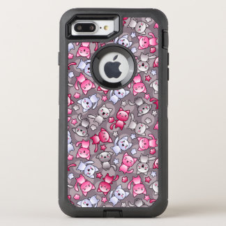 pattern with cute kawaii doodle cats OtterBox defender iPhone 8 plus/7 plus case