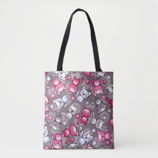 pattern with cute kawaii doodle cats tote bag