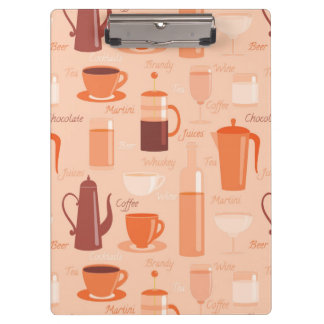 Pattern with drinks and text clipboard