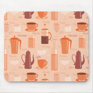 Pattern with drinks and text mouse pad
