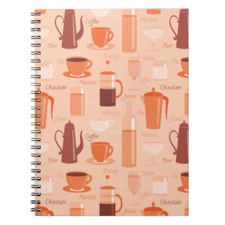 Pattern with drinks and text notebooks