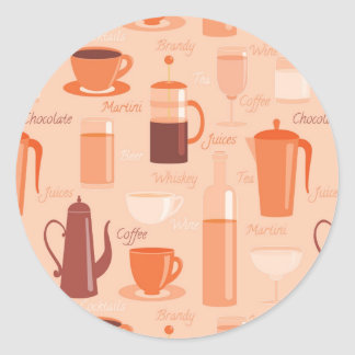 Pattern with drinks and text round sticker