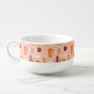 Pattern with drinks and text soup mug