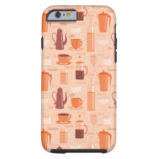 Pattern with drinks and text tough iPhone 6 case