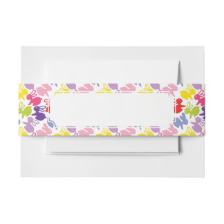 pattern with Easter rabbits Invitation Belly Band
