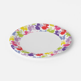 pattern with Easter rabbits Paper Plate