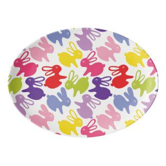 pattern with Easter rabbits Porcelain Serving Platter
