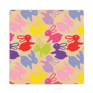 pattern with Easter rabbits Wood Coaster