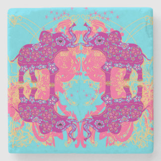 pattern with elephants Stone Coaster