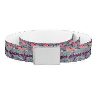 Pattern With Fish And Purple Wave Belt