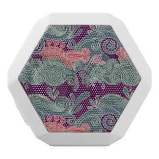 Pattern With Fish And Purple Wave White Boombot Rex Bluetooth Speaker