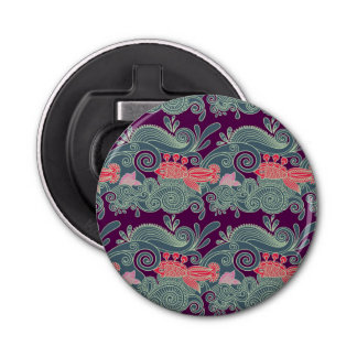 Pattern With Fish And Purple Wave Bottle Opener