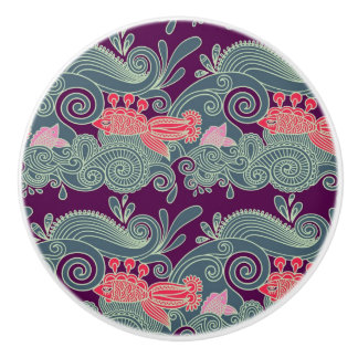 Pattern With Fish And Purple Wave Ceramic Knob