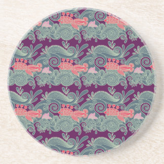 Pattern With Fish And Purple Wave Coaster