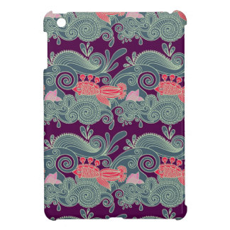 Pattern With Fish And Purple Wave iPad Mini Cover