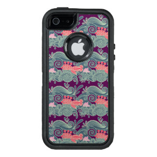 Pattern With Fish And Purple Wave OtterBox Defender iPhone Case