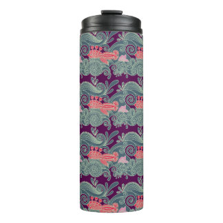 Pattern With Fish And Purple Wave Thermal Tumbler