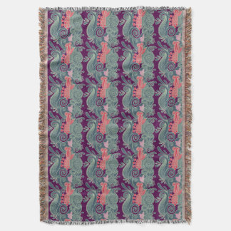 Pattern With Fish And Purple Wave Throw Blanket