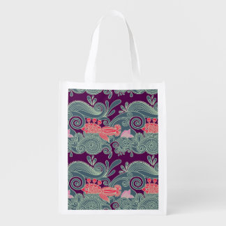 Pattern With Fish And Purple Wave Grocery Bags
