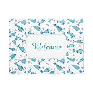Pattern With Fish And Starfish | Add Your Text Doormat