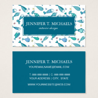 Pattern With Fish And Starfish Business Card