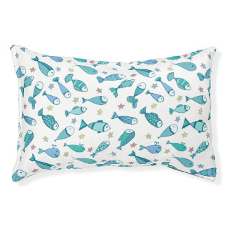 Pattern With Fish And Starfish Pet Bed