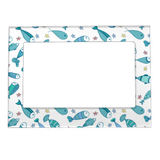 Pattern With Fish And Starfish Photo Frame Magnets