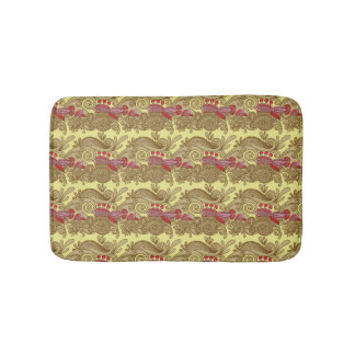 Pattern With Fish And Wave Bath Mat