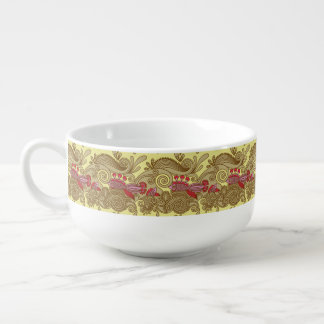 Pattern With Fish And Wave Soup Mug