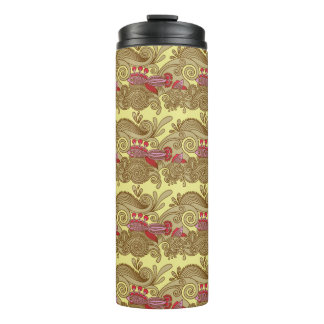 Pattern With Fish And Wave Thermal Tumbler