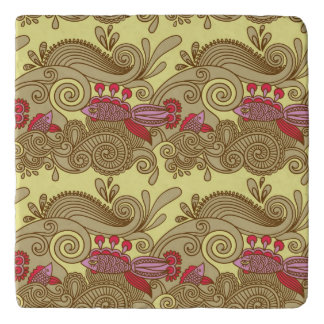 Pattern With Fish And Wave Trivet