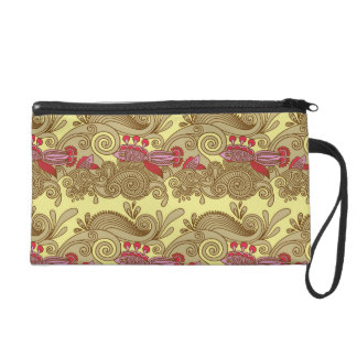 Pattern With Fish And Wave Wristlet