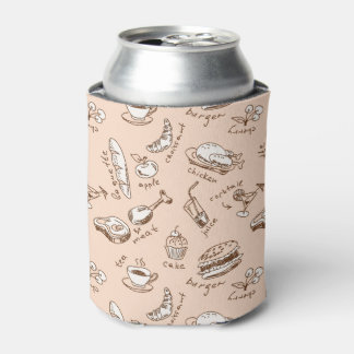 Pattern With Food Can Cooler