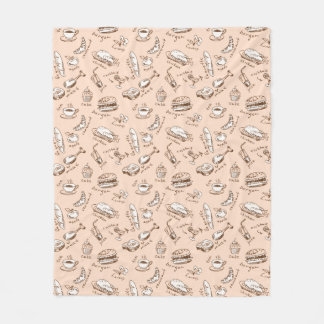 Pattern With Food Fleece Blanket