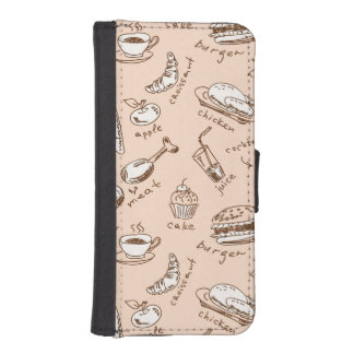 Pattern With Food iPhone SE/5/5s Wallet Case
