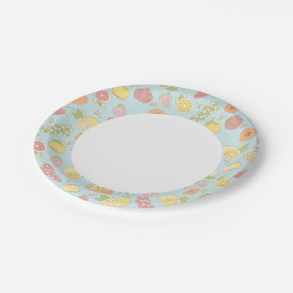 Pattern With Fruits And Berries 7 Inch Paper Plate