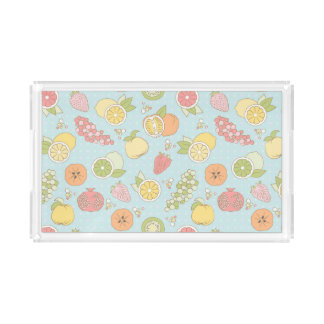 Pattern With Fruits And Berries Acrylic Tray