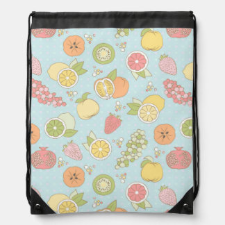 Pattern With Fruits And Berries Drawstring Bag