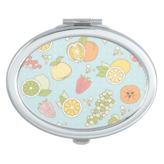 Pattern With Fruits And Berries Makeup Mirrors