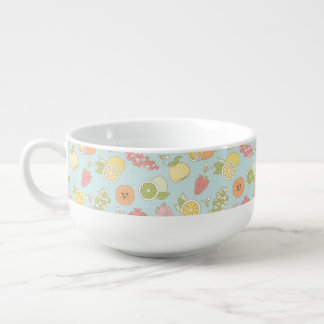 Pattern With Fruits And Berries Soup Mug