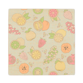 Pattern With Fruits And Berries Wood Coaster