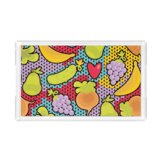 Pattern with fruits and vegetables acrylic tray