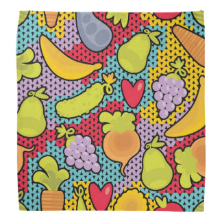 Pattern with fruits and vegetables bandana